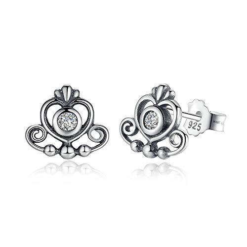 Prinses Tiara 925 Sterling Zilver Mijn Prinses Tiara, Helder CZ Hart Kroon Oorstekers voor Vrouwen Bruiloft Oorbellen Fijne sieraden