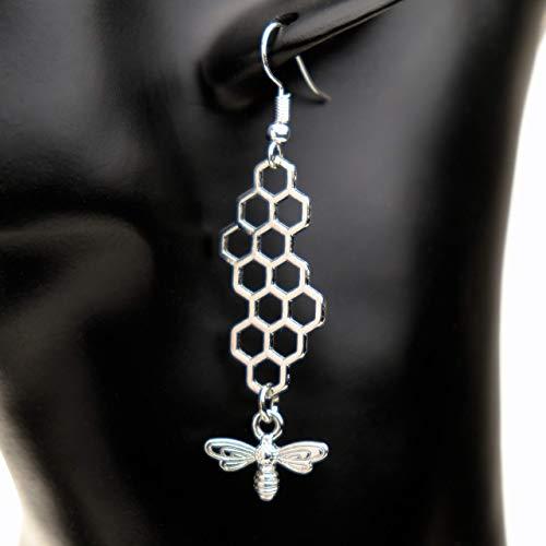 LUCIL® - HONEYCOMB SILVER - Ohrringe Ohrhänger Hängeohrringe hängend Biene Wabe Farbe: silber