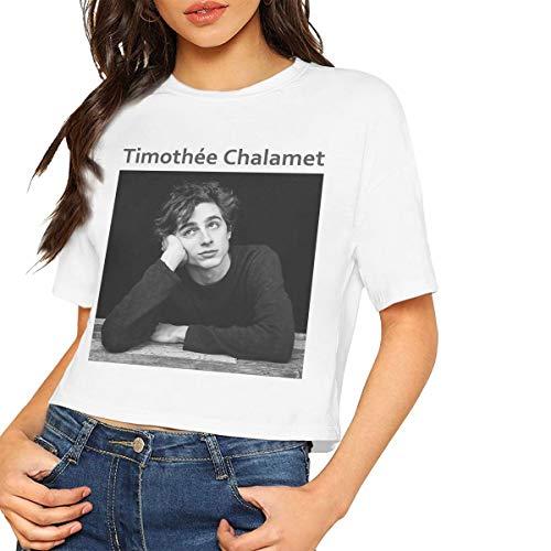 Timothee Chalamet Shirt Women's Crop Top Short Sleeve T-Shirt Crew Neck Blouse L White