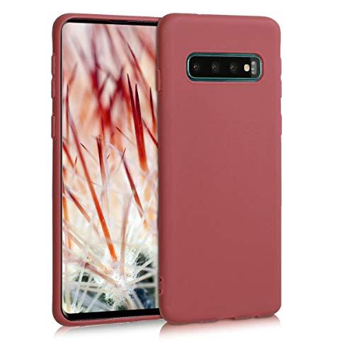 kwmobile Funda Compatible con Samsung Galaxy S10 - Funda Carcasa de TPU Silicona - Protector Trasero en marrón Rojizo