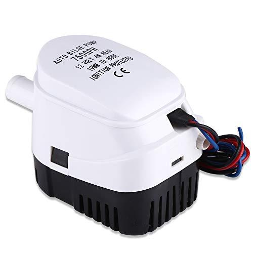 Duokon Water Bilge Pump, Bilgepumpe 12V 750GPH Automatische Bilgewasser Tauchpumpe mit Schwimmerschalter für Boote