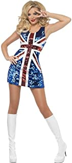 Smiffy's Adult Women's All that Glitters Rule Britannia Costume, Sequined Union Jack Dress, Around the World, Size S, 25001