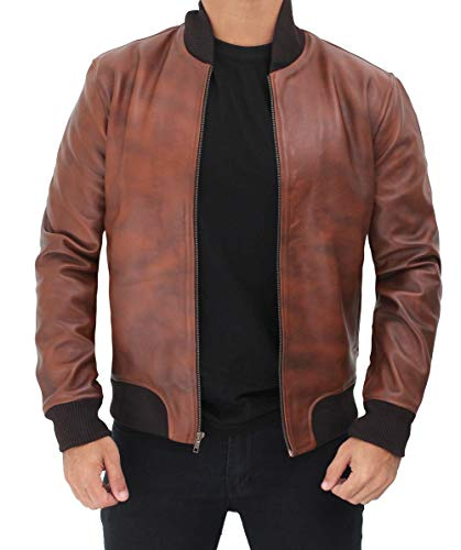 Mens Brown Cowhide Bomber Leather Jacket For Men | 4XL