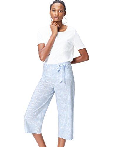 Marca Amazon - find. Pantalón Estampado con Lazada en la Cintura para Mujer, Azul (Blue Stripe), 38, Label: S