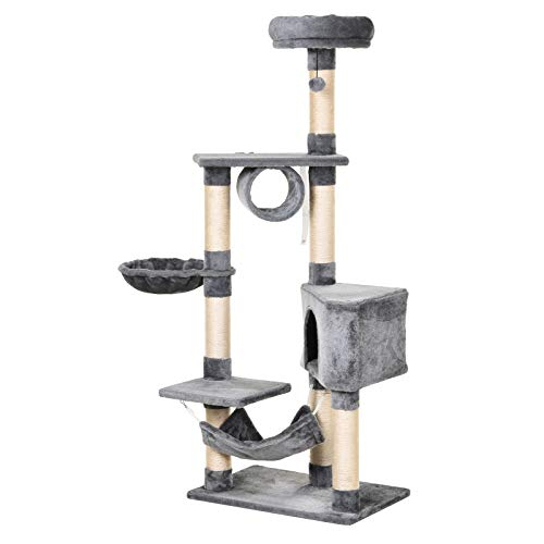 Pawhut Árbol Rascador para Gatos 154 cm de Altura Escalador con Plataformas Túnel Hamaca y Postes de Rascado de Sisal, Gris