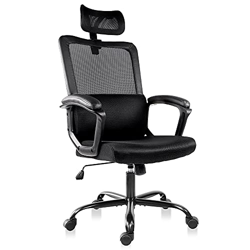 Mesh Office Chair, High Back Ergonomic Executive Computer Desk Task Chairs Comfy Soft Armrests with Adjustable Headrest and Lumbar Support, Black