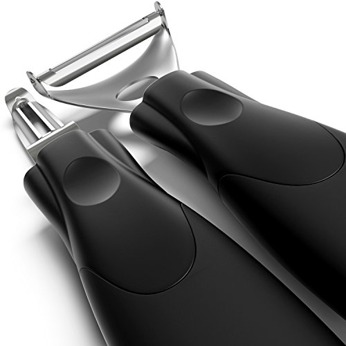 Triple Your Peeling Speed - Set of 2 Peelers For The Price of One, Sharp and Durable, Stainless Steel Double-edged Blades For All Fruits and Vegetables - Dishwasher Safe, Easy To Clean