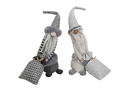 Generic Juego de 2gnomo de Duende de la Navidad muñeco de gnomo Gris de Tela–Gris/Beige pie gnomo...