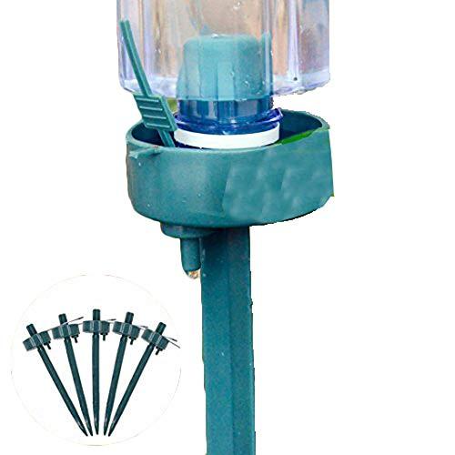 5 pcs Vacances Plante d'égouttement d'arrosage automatique avec débit réglable Jardin Intérieur automatique Drip Garden Innovations Bouteille Système Taille M Green