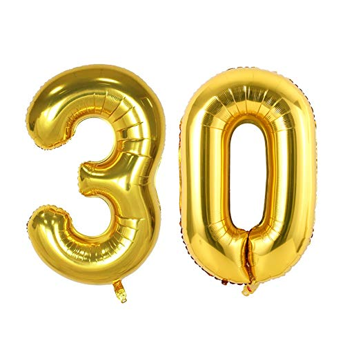 Gold Number Balloons, Birthday Party Decorations Balloons Foil Helium Balloons 32 Inch (30)