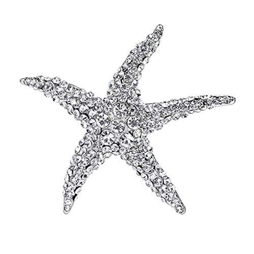 F-blue Joyería de Las Mujeres Crystal Beach Estrellas de mar Broche del Ramo Ropa de la Boda del Ramo de Ropa Nupcial del Rhinestone de la Bufanda Pins, Blanco de Plata