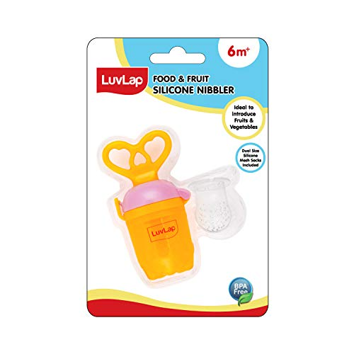 LuvLap Silicone Food/Fruit Nibbler with Extra Mesh, Soft Pacifier/Feeder, Teether for Infant Baby, Infant, Heartfills Yellow & Pink, BPA Free
