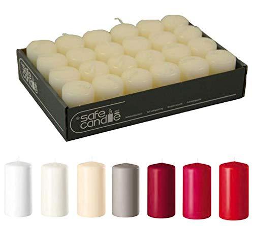 Hochwertige Stumpenkerzen (Safe Candle) - Adventskerzen/Wachskerzen/Kerzenpaket (Wollweiß, Mini: Höhe 6cm / Ø 4cm - 24 Stück)