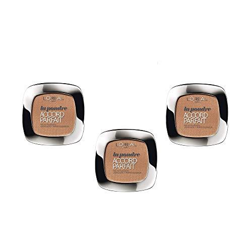 L Oréal Paris Polvo compacto matificante Accord Parfait - 6.D Miel, Juego de 3 (3 x 9g)