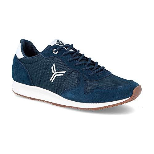Zapatilla Sneaker Yumas Dublin Marino/Blanco Fabricado en Piel Vuelta y nilon Plantilla Latex para Hombre