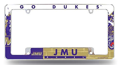 Rico Industries, Inc. James Madison Dukes JMU EZ View All Over Design Chrome Frame Metal License Plate Tag Cover University of