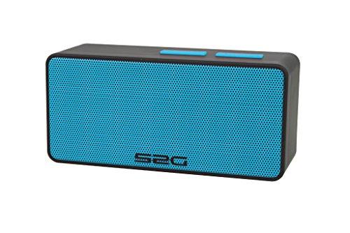S2G Cool Bluetooth Lautsprecher, FM Radio, USB, Micro SD, Spritzwasserschutz, Freisprecheinrichtung, Klein, Leicht, Outdoor, Indoor - Schwarz/Eisblau