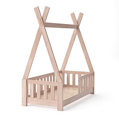 VitaliSpa Kinderbett Tipi Hausbett Indianer Bett Kinderhaus Massivholz Zelt Holz mit Zaun 70x140cm (Natur)