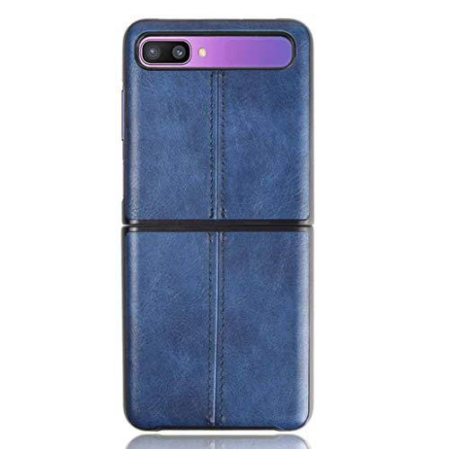 HAOTIAN Hülle für Samsung Galaxy Z Flip Hülle, Ultra-Slim Silikon Handyhülle Leder-Erscheinungsbild Retro Schutzhülle, Stoßfeste Handy-Tasche für Samsung Galaxy Z Flip, Blau