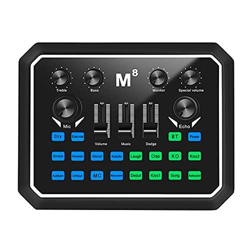 Muslady Live Sound Card Tarjeta de Audio Universal BT Adaptador de Sonido de Acompañamiento Múltiples Efectos de Sonido