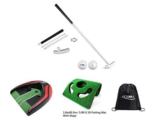 POSMA GCP02C 4 Sections Portable Best Two-Way Putter Auto Return Putt Cup Putt Mat Kit Set - Left Right Hand - Tour Golf Balls - 1 Golf Carry Bag
