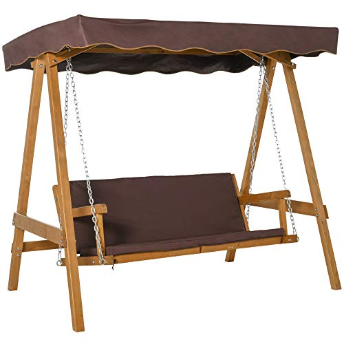 Outsunny 3 Seater Outdoor Garden Swing Chair with Adjustable Canopy, Wooden Hammock Bench with Padded Cushions for Patio Yard, Brown
