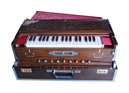 Harmonium Folding - 3 Schilf, 9 Skala Wechsler, 3,75 Oktave, dunkelbraune Holzfarbe mit Kupplung und Fiber Box