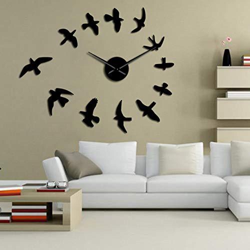 YQMJLF Reloj Pared DIY 3D Grande Espejo Decorativo Reloj Pared Flying Birds Reloj Pared Diseño Moderno Lujo sin Marco DIY Reloj Grande Reloj Pared Naturaleza Decoración la habitación Negro