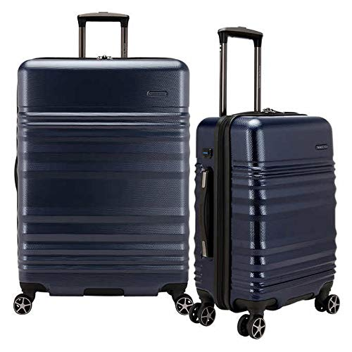 Traveler's Choice Pomona 2-piece Hardside Set with External USB Access for Charging Devices (Dark Blue)
