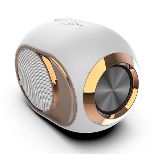 Altavoces Bluetooth, Bluetooth 5.0, Altavoz Portatil, Estereo, al Aire Libre, hogar, Fiesta, Viajes con HD Audio y Manos Libres, Radio FM Antena Construido, USB, Llamadas Manos Libres y TF,White