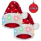 Winks Novelty [Pack De 2] Divertido Gorro de Papá Noel con 20 Luces LED Intermitentes Que...