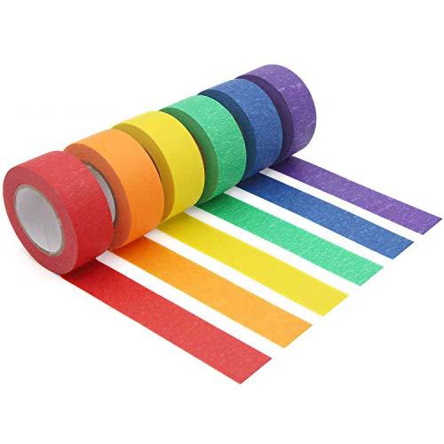Boyigog 6Pcs Rollen Washi Masking Tape Set, farbiges dekoratives Washi Masking Tape, beschreibbares Regenbogenband für Basteln, Heimwerken und Etiketten 24mm * 20m