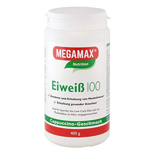 Megamax Eiweiss Cappuccino 400 g   Molkenprotein + Milcheiweiß Für Muskelaufbau ,Diaet   2k-Eiweiss ideal zum Backen   hochwertiges Low Carb Eiweiß-Shake   aspartamfrei Protein-pulver mit Aminosäure