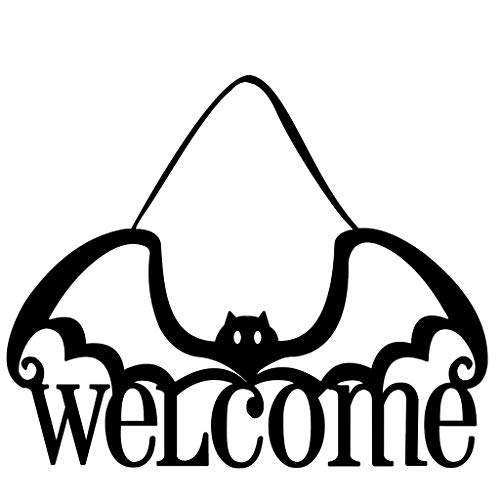Halloween Signs for Home Haunted Party Office School Door Wall Decorations - Welcome with Bats Sign Decor - Halloween Hanging Decorations Outdoor Indoor