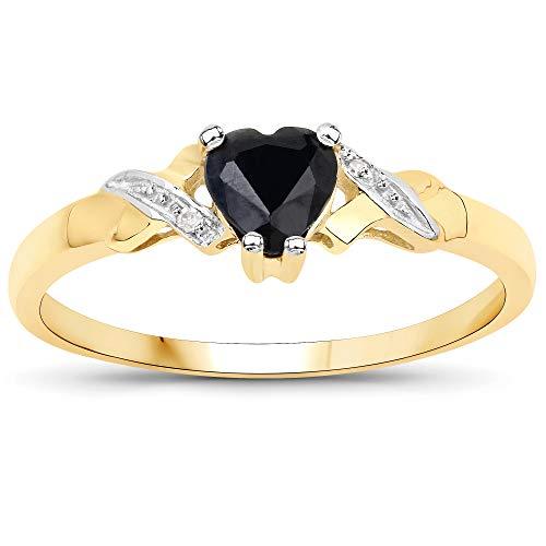 La Colección Anillo Zafiro: Anillo Oro 9ct en forma con corazón Zafiro y set Diamantes en los hombros, Perfecto para Regalo,Anillo de compromiso o aniversario,Talla del anillo 12,5