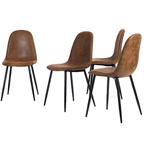 Homy Casa 4er Set Esszimmerstühle Scandinavian Vintage Wildledersitz mit Stahlbeinen in Schwarz (Stoff in Lederoptik)