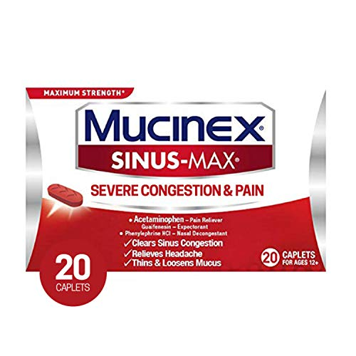 Mucinex Sinus-Max Severe Congestion & Pain Relief Maximum Strength Caplets- Sinus Decongestant, Headache Relief & Loosens Mucus, Expectorant w/ Acetaminophen, Phenylephrine & Guaifenesin, 20 Count