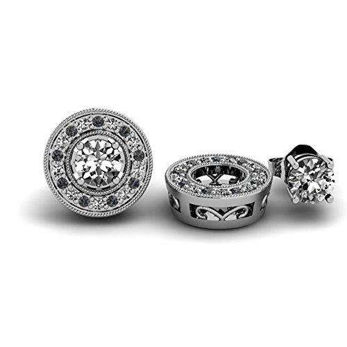 Damen Ohrringe / Ohrstecker 0.22 Karat 14 Karat Weißgold Rund Schwarz und weiß Diamant Abnehmbare Jacken für 1/5 Karat