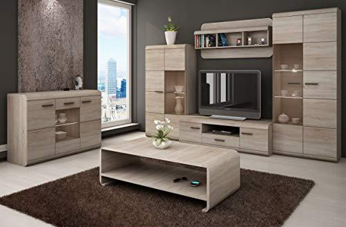 Wohnzimmer Komplett - Set F Gabes, 6-teilig, Farbe: Eiche Sonoma