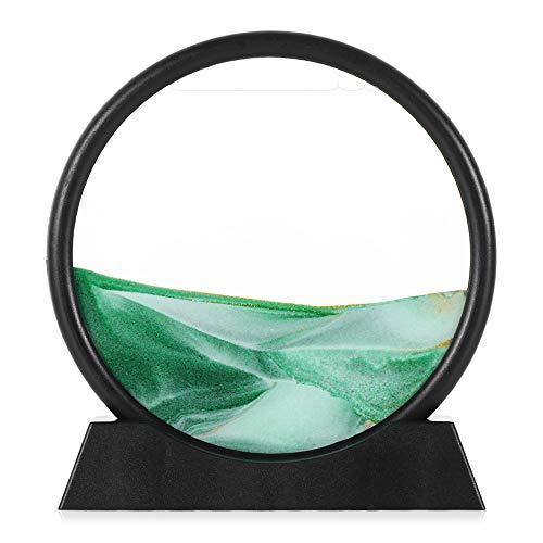 DSLONG Mobile Hourglass Art 3D Natural Landscape Mobile Sand Painting, Mobile Hourglass, 7-inch Round Glass Mobile Sand Stand. Quicksand Painting Living Room Decoration Home Decoration (Green)