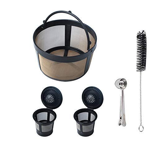 Reusable Mesh Ground Coffee Filter Basket Compatible with K-Duo Essentials and K-Duo Brewers Machine, Coffee Cup Pod for K Cup and Cleaning Brush