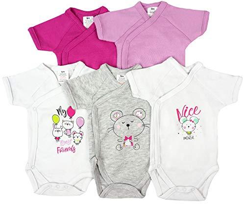 5er Pack Baby Mädchen Bodys Wickelbodys Kurzarm Baumwolle Gr. 56 (1M)