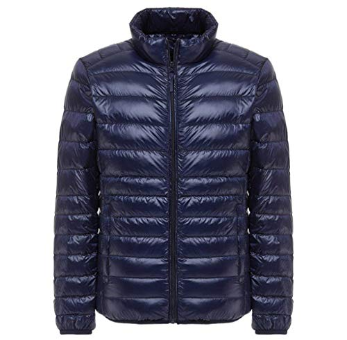 Saoye Fashion Herren Daunenjacke Mit Stehkragen Plus Size Ultra Lightweight Kleidung Coat Jacke Lightdaune Daunenmantel Langarm Slim Fit Normallacks Steppjacke Outwear (Color : Navy, Size : 4XL)