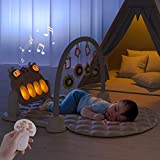 TUMAMA Remote Control Baby Gym Playmats for Infant Musical Floor Play Kick & Piano Activity Play Mat Sleep Soother Sound Machine Night Lights Rabbit Gifts Toy for 0 3 6 9 12 Months