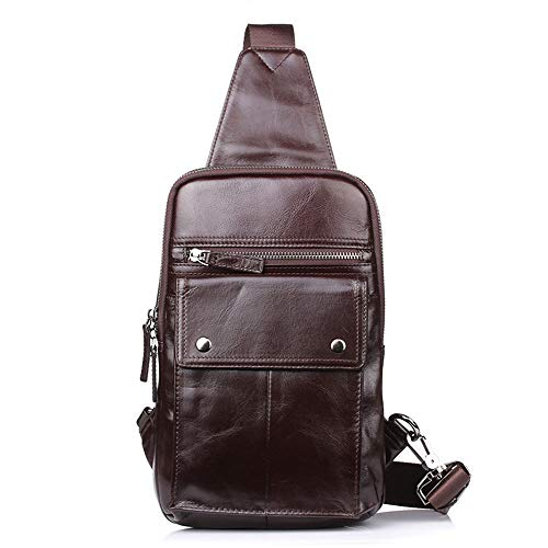 Outdoor Sports Genuine Leather Men's Bag Chest Bag Korean Style Crossbody Bag File Package Briefcase Coffee Chest Pack Daypack (Color : Coffee)
