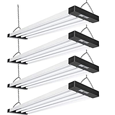 Hykolity 4FT LED Utility Low Bay Shop Lights, 80W,8800lm,5000K, [ 4-lamp F32T8 Fluorescent Equiv.] Heavy Duty 4 Foot LED Linear High Bay Light Fixture for Workshop, Plug in with On/Off Switch, 4 Pack