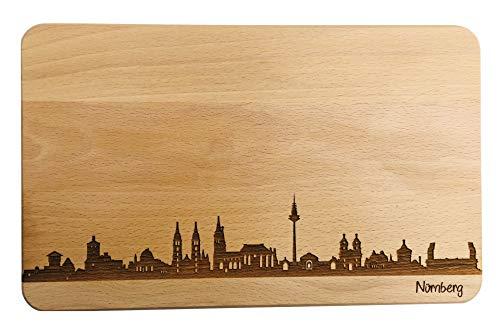 SNEG Brotzeitbrett Nürnberg Skyline | Frühstücksbrettchen aus Buche | Holz Schneidbrett | Geschenk mit Gravur | Frühstücksbrett | Bayern | Franken (Standard (22x14x1cm), 1. Ohne Persönlicher Gravur)