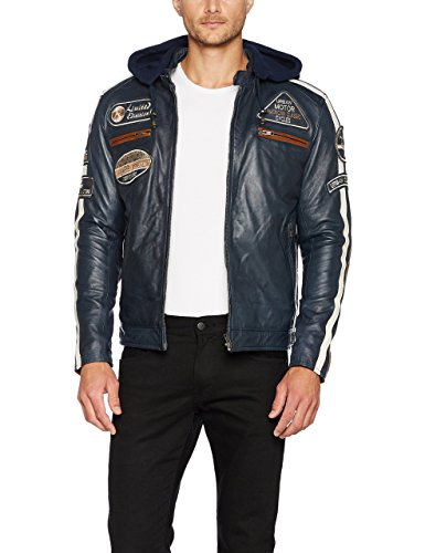 Chaqueta Moto Hombre en Cuero Urban Leather '58 GENTS' | Chaqueta Cuero Hombre | Cazadora de Moto de Piel de Cordero | Armadura Removible para Espalda, Hombros y Codos Aprobada CE |Navy Azul | 3XL