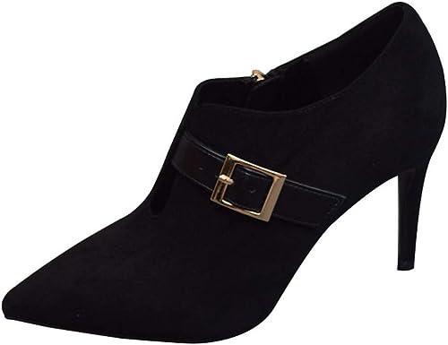 FLYRCX Fina con Tacones Altos de Ante Puntiagudo zapatos Solos zapatos de Trabajo para Damas