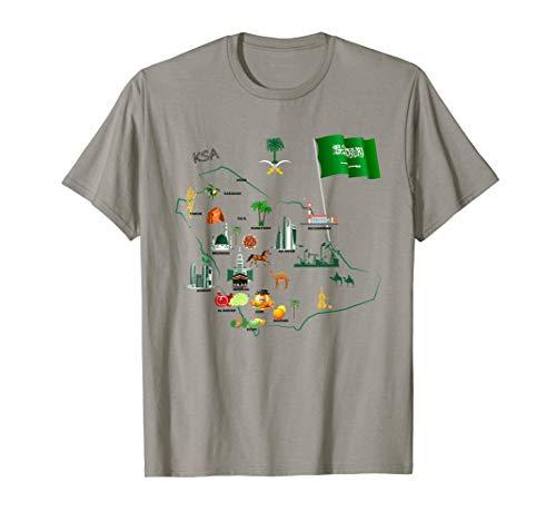 Saudi Arabia Map tourist attractions cities flag T-Shirt